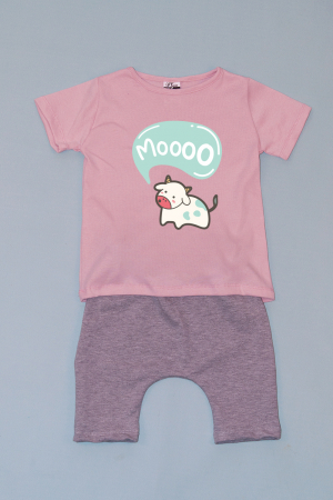 Compleu Tricou Roz cu Pantalon Baggy Gri Mooo0