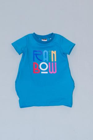 Rochie cocon albastra cu maneca scurta - Rainbow0
