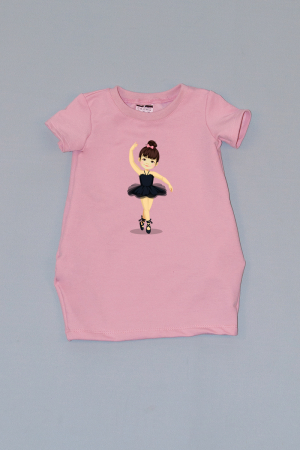 Rochie cocon roz cu maneca scurta balerina0