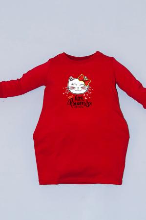 Rochie rosie cu buzunare - Little Princess0