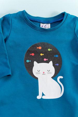 Rochie Hbebe albastră cu buzunare - Moon Cat1
