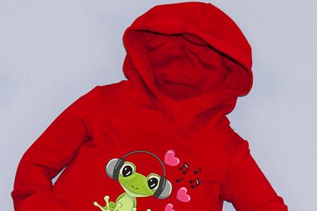Rochie roșie cu glugă - Frog1