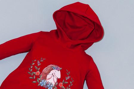Rochie roșie cu glugă - Arici [1]