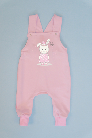 Salopeta Roz cu Bretele Baby Rabbit0
