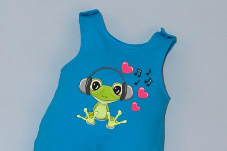 Salopeta Albastra capse pe umar Frog [1]