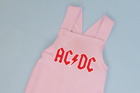 Salopeta Roz cu Bretele AC/DC1