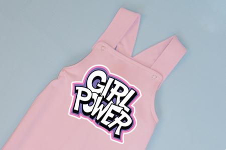 Salopeta Roz cu Bretele Girl power [1]