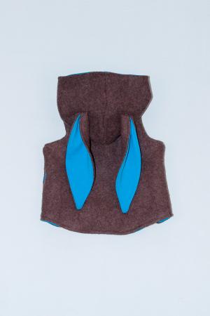 Vesta Iepuras din lana fiarta - Brown1