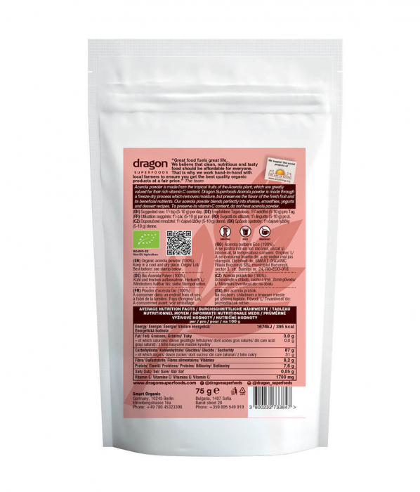 Acerola, pulbere raw bio, 75g [2]