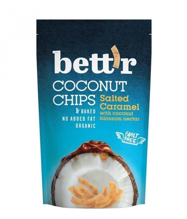 Chips-uri de Nucă de Cocos si Caramel sarat, Bio, 70g [0]