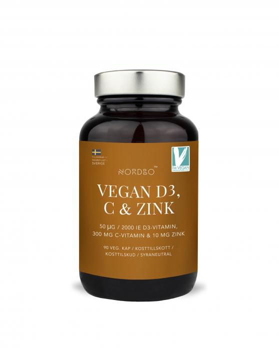 Vitamina D3, C & Zinc , NORDBO, Vegan, 90 capsule [1]
