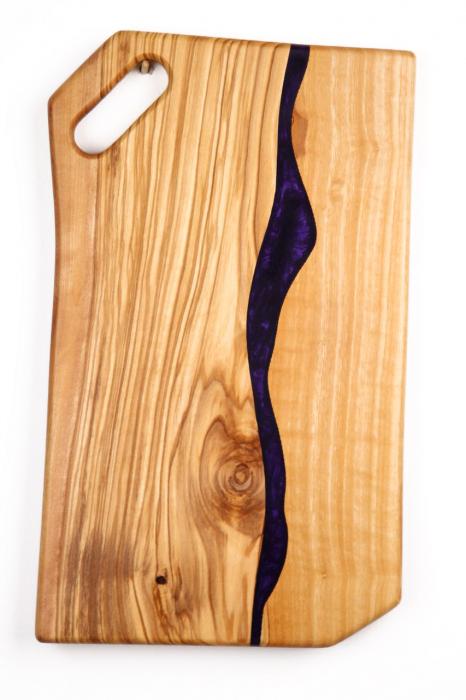 Platou de servire din lemn de maslin cu rasina epoxidica 0