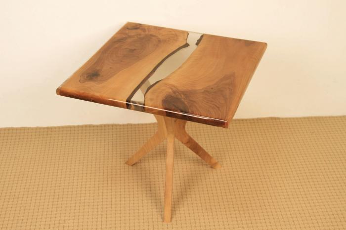Masa de cafea din lemn de nuc cu rasina transparenta [0]