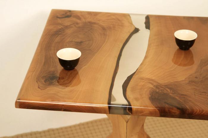 Masa de cafea din lemn de nuc cu rasina transparenta [3]