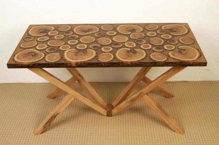 Masa din lemn de salcam inserat in rasina epoxidica transparenta 14