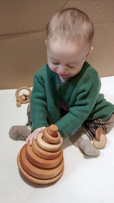 Trunchi de con cu inele și balans (+ 9 luni) - Material Montessori 2