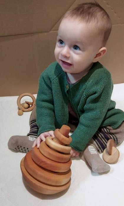 Trunchi de con cu inele și balans (+ 9 luni) - Material Montessori 1