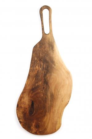 Platou de servire din lemn de nuc, culoare natur, cu mici insertii de rasina epoxidica. [5]