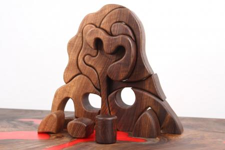 Puzzle decorativ din lemn masiv de nuc. [4]