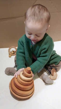 Trunchi de con cu inele și balans (+ 9 luni) - Material Montessori2