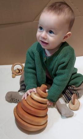 Trunchi de con cu inele și balans (+ 9 luni) - Material Montessori1