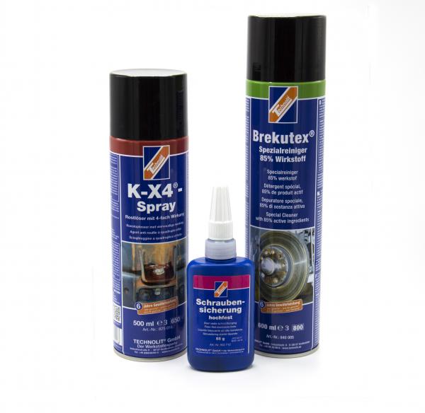 Sprau curatitor frane BREKUTEX ,600ML + K-X4 spray degripant/antirugina TECHNOLIT,500ML+ Blocator suruburi, TECHNOLIT; 0