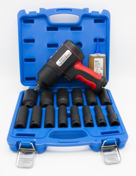 """Pistol pneumatic 1/2""""-1600 Nm, STAHLRHEIN + Tubulare impact lungi 1/2 10-32mm, BGS + Ulei special masini pneumatice, 100ml, BGS 0"""