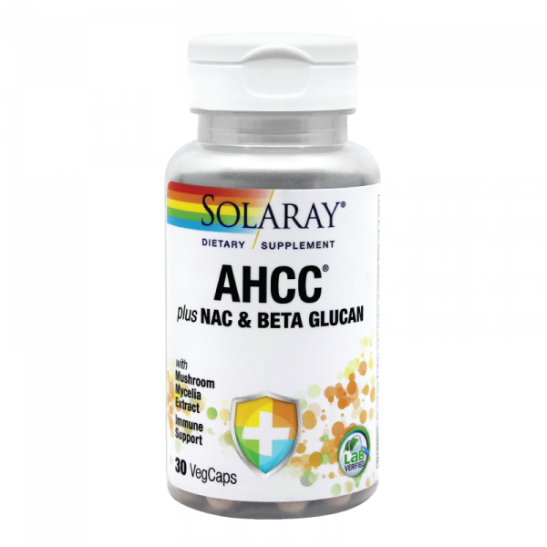 AHCC plus NAC & Beta Glucan Solaray, 30 tablete, Secom 0