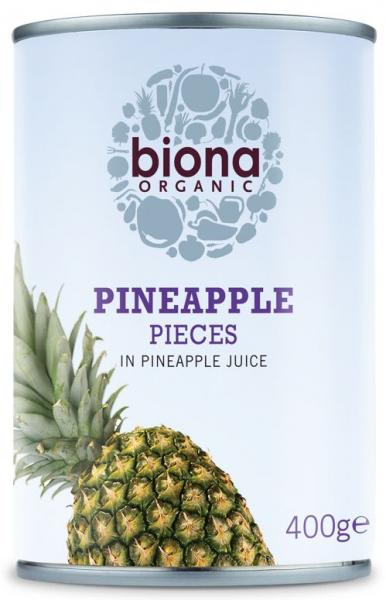 Ananas bucati in suc de ananas bio 400g Biona 0