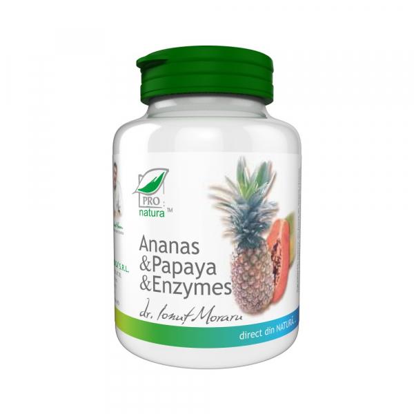 Ananas, Papaya si Enzymes, 100 comprimate, Medica 0