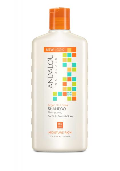 Șampon cu ulei de argan și unt de shea pentru păr uscat și deteriorat Moisture Rich Andalou, 340 ml, Secom 1
