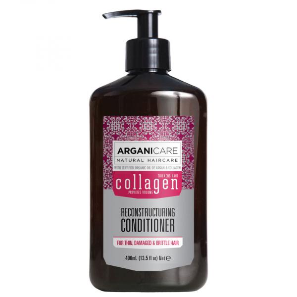 Balsam reparator cu colagen pentru par subtire, deteriorat si fragil, Arganicare, 400 ml 0