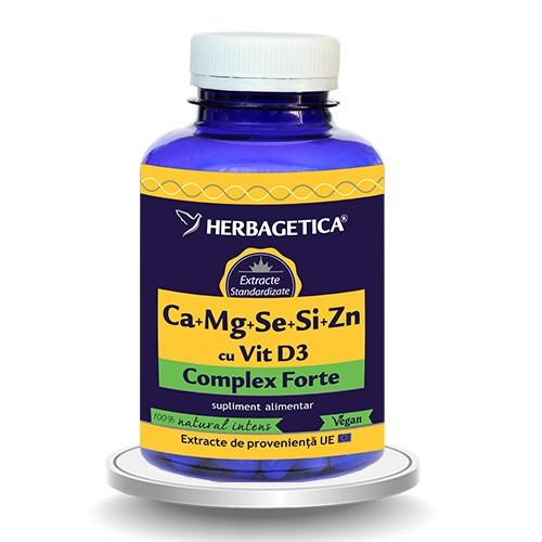 Calciu, magneziu, seleniu, siliciu si zinc organice cu D3, 120 capsule, Herbagetica 0