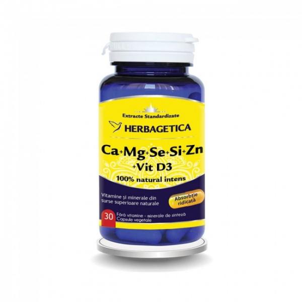 Calciu, magneziu, seleniu, siliciu si zinc organice cu D3, 30 capsule, Herbagetica 0