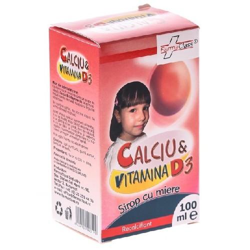 Calciu + Vitamina D3, Sirop cu Miere, 100 ml, Farma Class 0