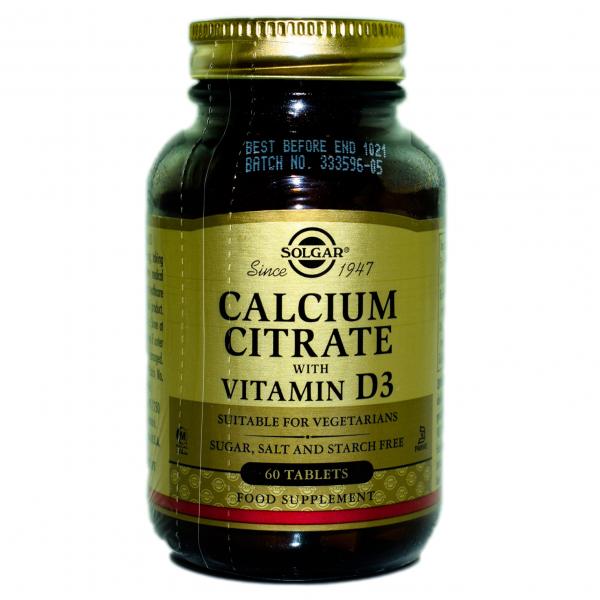 Citrat de calciu cu vitamina D3, 60 tablete, Solgar 0