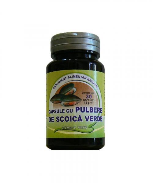 Capsule cu pulbere de scoica verde 400mg, 30 capsule, Herbavit 0