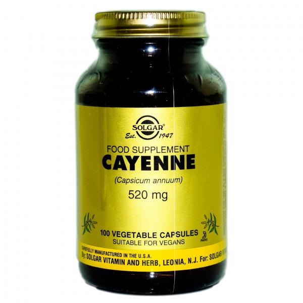 Pudra de ardei iute Cayenne 520 mg, 100 capsule, Solgar 0