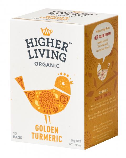 Ceai GOLDEN TURMERIC eco, 15 plicuri, Higher Living 0