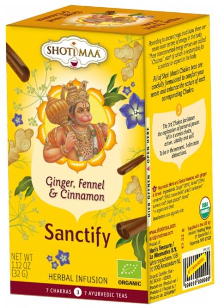 Ceai Shotimaa Chakras -Sanctify - ghimbir, fenicul si scortisoara bio 16dz 0