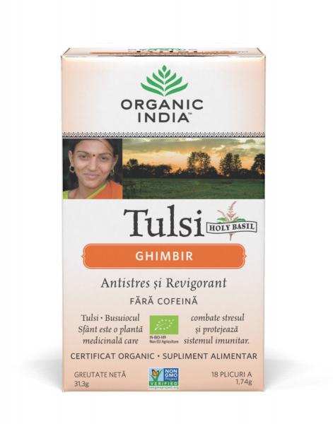 Ceai Tulsi (Busuioc Sfant) Ghimbir - Antistres si Revigorant 0