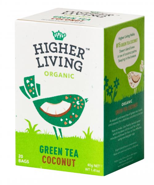 Ceai verde - COCOS - eco, 20 plicuri, Higher Living 0