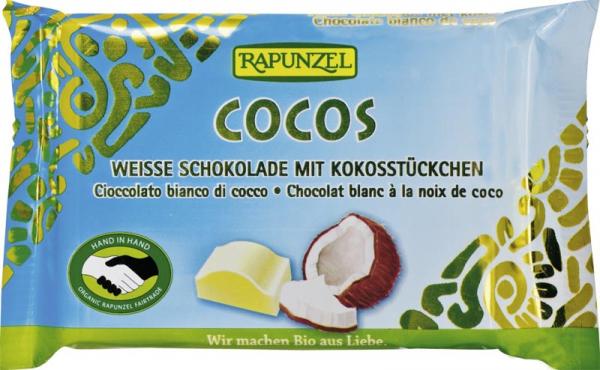 Ciocolată bio albă Cristallino cu bucăţele de cocos HIH 0