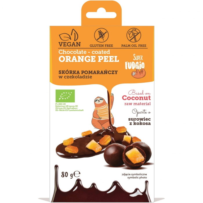 Coaja de portocala invelita in ciocolata bio 80g 0