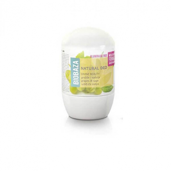 Deodorant natural pe baza de piatra de alaun piele sensibila DIVINE BEAUTY (salvie si struguri), Biobaza, 50 ml 0