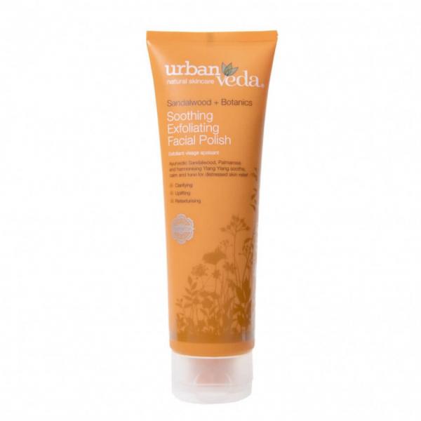 Exfoliant hidratant pentru curatare faciala cu extract de lemn de santal organic - ten sensibil, Soothing - Urban Veda, 125 ml 0