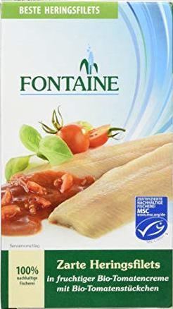 FIle de hering in sos bio de tomate cu bucati de tomate 0