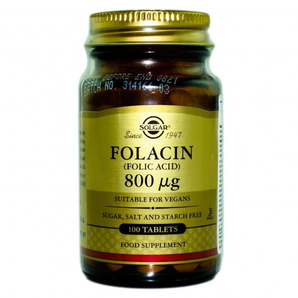 Acid Folic Folacin 800 ug, 100 tablete, Solgar 0