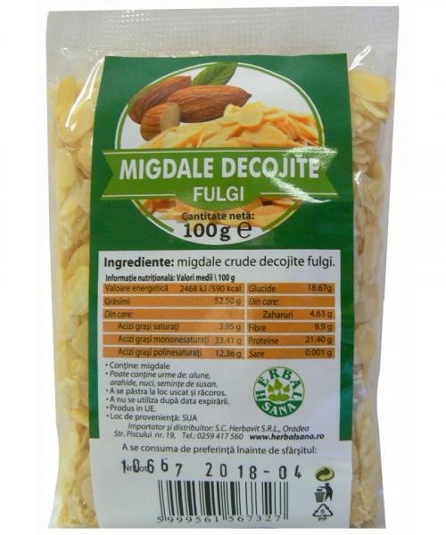Fulgi migdale crude decojite, 100g, Herbavit 0