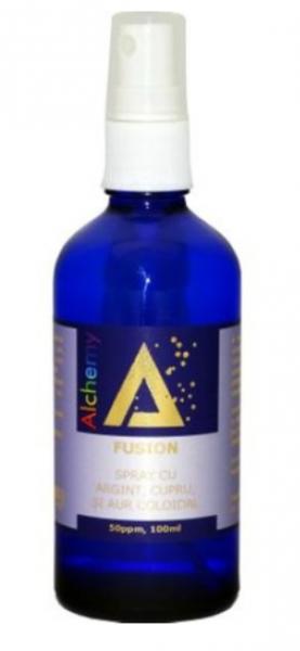 Lotiune pentru ingrijirea pielii, spray cu argint, cupru si aur coloidal, Fusion, 50ppm, 100ml, Aghoras Invent 0